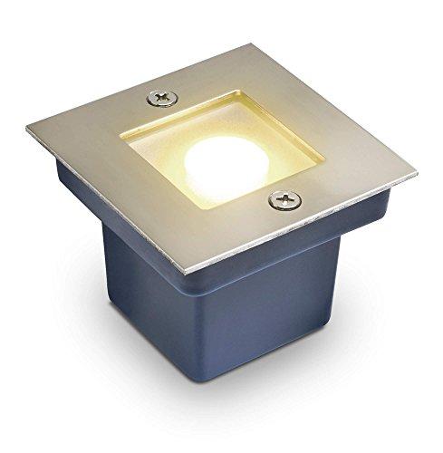 LED Bodeneinbaustrahler Horka - Quadratisch/Eckig 1W für Aussen und innen IP65 in Edelstahl poliert - Warmweiß Echt-Glas LED warmweiß 230V Terrasse Garten Küche Wege
