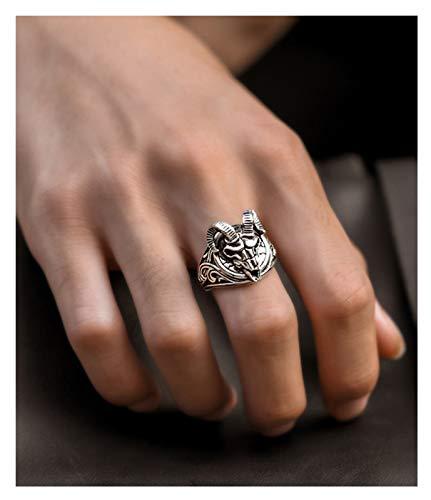 RXISHOP Anillo de plata S925 para hombres y mujeres, noble cabeza de oveja, estilo retro, anillo de boda para novio y padre, anillo de regalo de la suerte 14-26# 26#