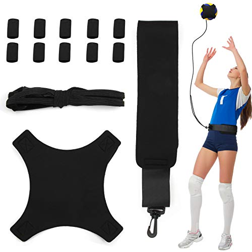 Volleyball Training Aid Soccer Practice Trainer with Adjustable Belt for Serving Setting Spiking Training, Volleyball Training Equipment Aid for Beginners and Volleyball Player with 10 Finger Sleeves