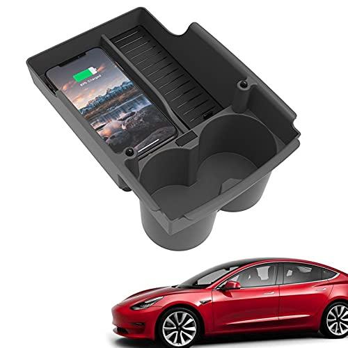 Cargador inalámbrico carga automóvil para consola Tesla Model X S,almohadilla carga inalámbrica Qi para teléfono inteligente de 10W,organizador de almohadilla para cargador con soporte para taza doble