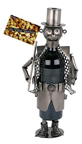 BRUBAKER Wein Flaschenhalter Schornsteinfeger Metall Skulptur mit Geschenkkarte