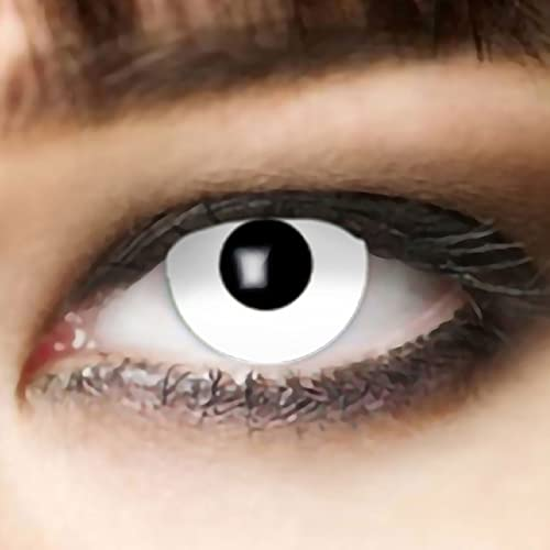 Farbige Kontaktlinsen Weiß für Zombie oder Vampir Wochenlinsen der Marke King of Halloween.de, ideal zu Halloween, Karneval, Fasching, Fasnacht oder Cosplay und Rollenspiele - ohne Sehstärke