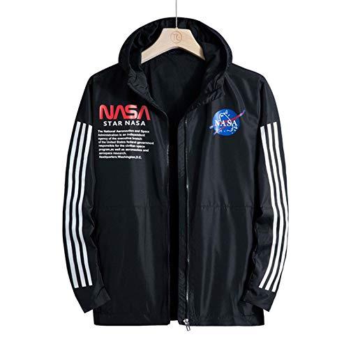 LLGHT Sudadera con Capucha para Hombre con Estampado De La NASA, Chaquetas Deportivas Informales, Ropa De Protección Solar Al Aire Libre De Primavera (Color : Black, Size : XX-Large)