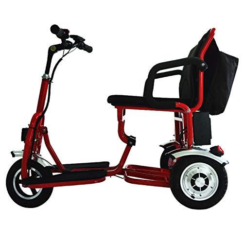 JHKGY Scooters De Viaje Eléctricos Portátiles Ligeros De 3 Ruedas -Scooter Eléctrico Plegable De Movilidad,Scooter Eléctrico Recreativo para Adultos/Ancianos/Discapacitados,Rojo ✅