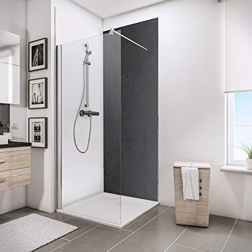 Schulte D1901021 601 Deco-Design Dekor Stein anthrazit, 210 x 100 cm, 3 mm Aluminium-Verbundplatte, Wandverkleidung als fugenfreier Fliesenersatz