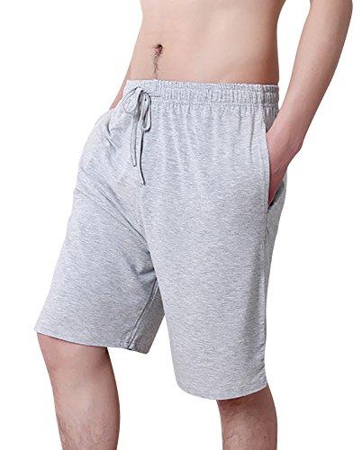 Dolamen Uomo Pantaloni Pigiama Shorts Cotone Modale, Boxer Pantaloncini Corti Pantaloni da Pigiama biancheria da notte Cintura elastica registrabile (XX-Large, Grigio)