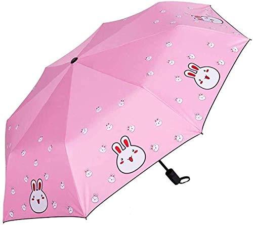 Regenschirm, Einfach zu tragen Faltschirme Cartoon Druck Regenschirm Sonnencreme UV-Regenschirm Sonnenschirm-faltendes Regen Dual-Use-Regenschirm Schwarz-Kunststoff-Sonnenschirm-Regenschirm-Regen-Rege