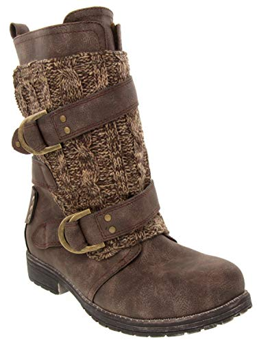 Rampage Women's Jelly Casual Double Buckle Moto Boot Ladies Mid Calf Sweater Detail Shoe Brown 9