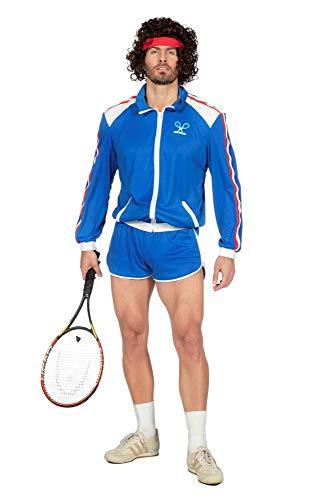 80er Jahre Tennisstar Retro Trainingsanzug Tennisspieler 80`s Wimbledon McEnroe Trash Herren-Kostüm, Größe:50