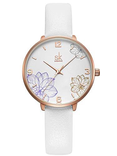Alienwork Reloj Mujer Oro Rosa Pulsera de Cuero Blanco Elegante