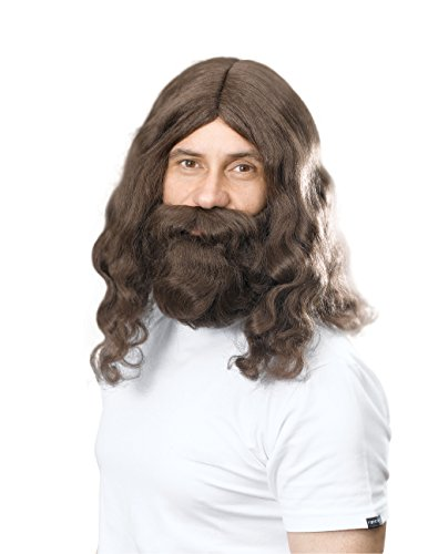 Hippie/Jesus + Barbe Ensemble Barbe Moustache Accessoire pour Hippie 60s 70s Déguisement Barbe Moustache