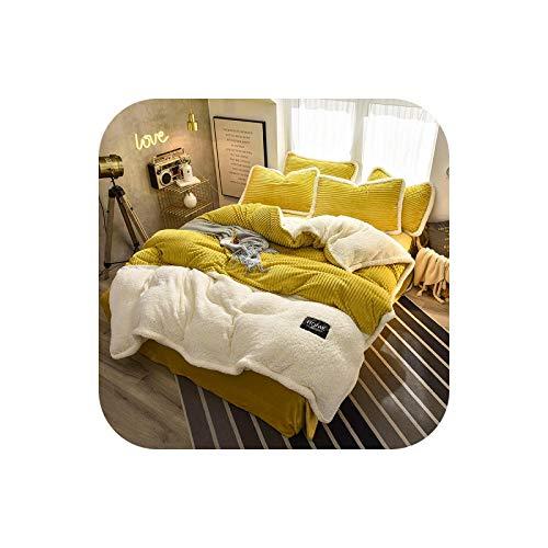 Velvet Fleece Bedding Sets 4pcs Stripe Duvet Cover Flat Fitted Sheet Pillowcase Winter Warm Bed Linen Flannel Queen king-1-3-Fitted Bed Sheet,Full 4pcs