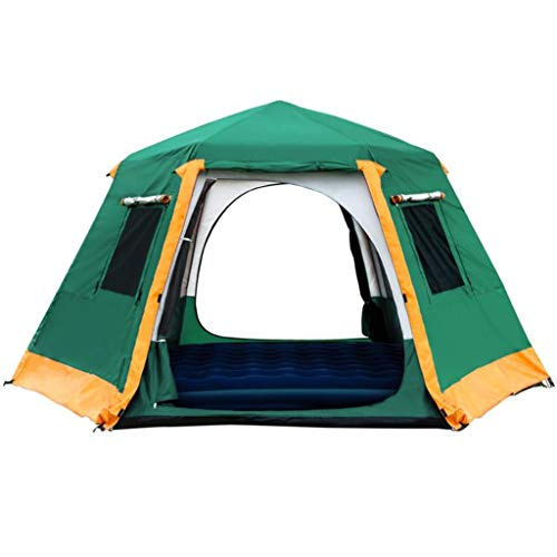 Kays Hexagon Tent Outdoor Automatic Tent Telescopic Aluminum Pole Camping Tent Build-free Double Deck 5-8 People Big Tent with Instant Setup (Color : Green)