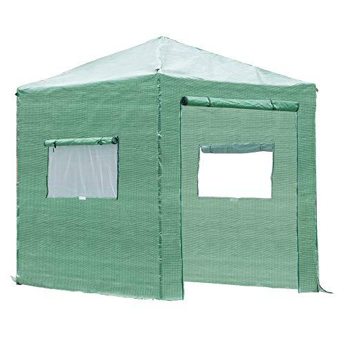 Outsunny Invernadero de Jardín Plegable 240x240x240 cm Caseta Vivero para Cultivos Plantas Flores con 2 Ventanas y Puerta con Cremallera de Acero y PE Verde