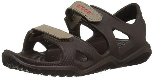 Crocs Unisex-Kid's Swiftwater River Sandal Flat, Espresso/Khaki, J3