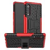 LiuShan Compatible con LG G9 ThinQ Funda,Heavy Duty Silicona Híbrida Rugged Armor Soporte Cáscara de Cubierta Protectora de Doble Capa Caso para LG G9 ThinQ/Velvet Smartphone,Rojo