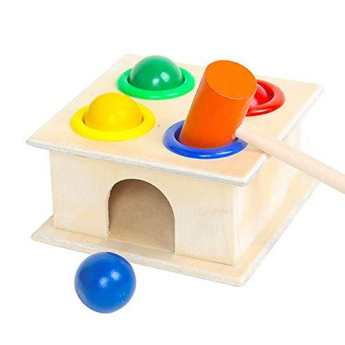 Juguete de Juego de Martillo de Madera con Bola Multicolor Juguetes educativos de Aprendizaje temprano Jugar Juguete de Juego de Martillo para niños Niños