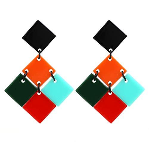 Pendientes de placa de color pendientes colgantes geométricos exagerados