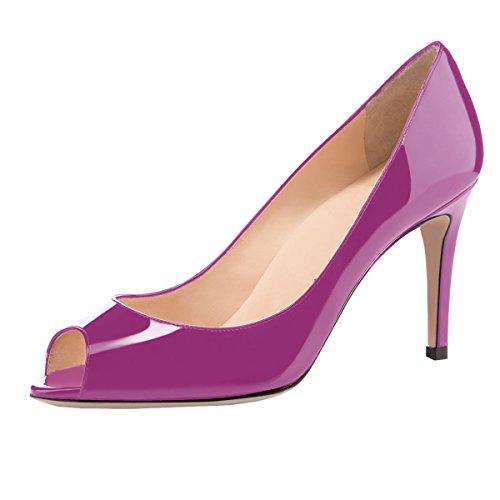 elashe Damen Peeptoe Pumps | 8cm Stiletto High Heel | Bequeme Lack Stilettos Lila EU41