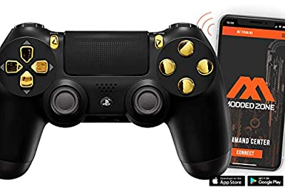 Black/Gold PS4 PRO Modded Controller for Rapid Fire Custom Modded Controller 40 Mods for All Major Shooter Games & More (CUH-ZCT2U)