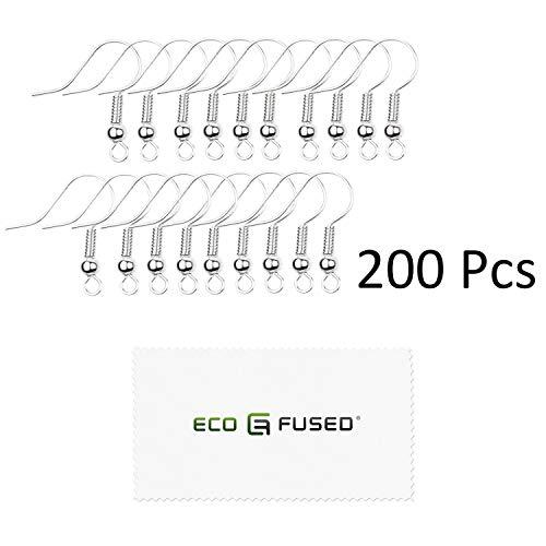 Eco-Fused - 18mm Ohrhaken - 200 Stk. - Nickelfreie Ohrhaken im Spulen- und Kugelstil - Versilberter Stahl - ideal für DIY-Ohrringe (Silber, 200pcs)