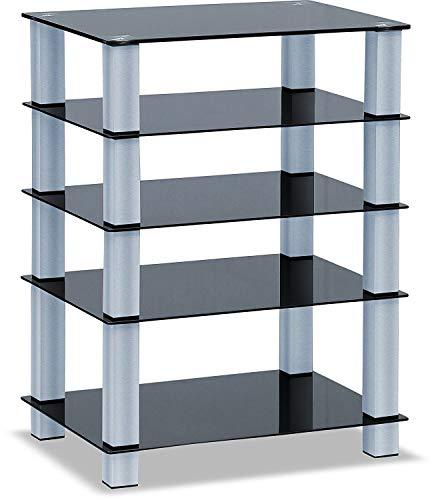 Homeology Trinity TV-Regal mit 5 Ablagen mit silberfarbenen Beinen, glänzendes Schwarz, Glasregal Silberfarbene Beine