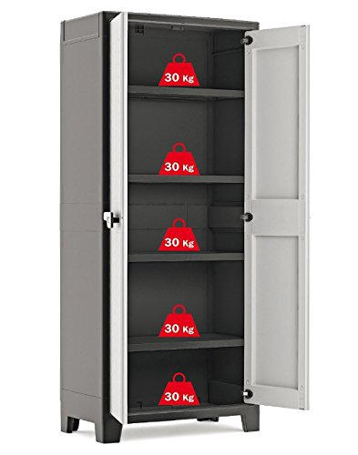 Kis Titan Water Resistant High Tall Plastic Cupboard - Garden Storage Box Outdoor Locker