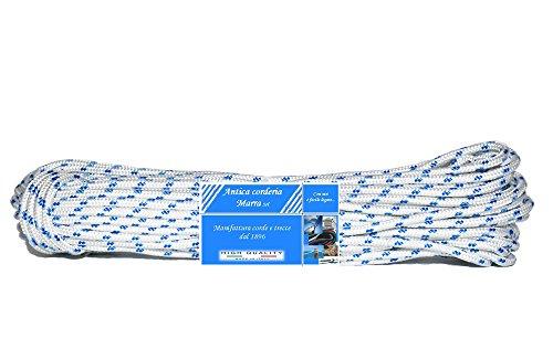 Corda Antica Corderia Marra - Treccia Nautica matassa mm 4, 20 m, bianca con segnalino azzurro