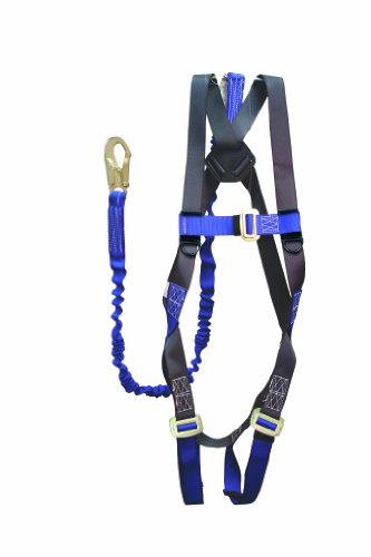 Elk River 48013 ConstructionPlus CP+ Polyester/Nylon Full Body Harness with Parachute Mating Buckles and 6' NoPac Lanyard, Fits Small to X-Large