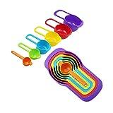 Juego Tazas medidoras Juego De Tazas Y Cucharas Medidoras Anidadas De 6 Piezas Colores Surtidos Sin BPA para Cocinar Al Horno Y Más