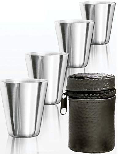 Outdoor Saxx® - 5-Teiliges Edelstahl Trink-Becher Set | Schnaps-Becher, unzerbrechlich | Tolles Geschenk, unzerbrechlich, mit Leder Tasche