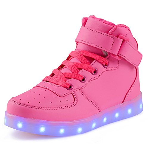 FLARUT Hoch Oben USB Aufladen LED Leuchtend Leuchtschuhe Blinkschuhe Sport Schuhe für Jungen Mädchen Kinder(33 EU,Rosa)