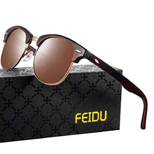 FEIDU Halbrahmen Polarisierte Klassische Metall Sonnenbrillen Herren-Retro Polarisierte Sonnenbrille Damen FD 3031 (Braun, 2.04)