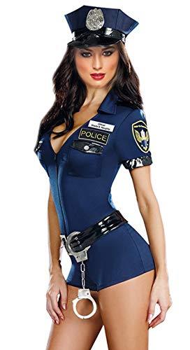 GEMVIE Disfraz Policía Mono Ropa para Mujer Sexy con Sombrero Fiesta Party Azul Talla única
