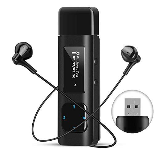 AGPTEK 16GB USB Stick MP3 Player mit Clip, unterstützt FM-Radio, Aufnahmen Funktion, Metal Music Player mit Kopfhörer und Laufband, Sport für Joggen, Wandern oder Camping, Schwarz