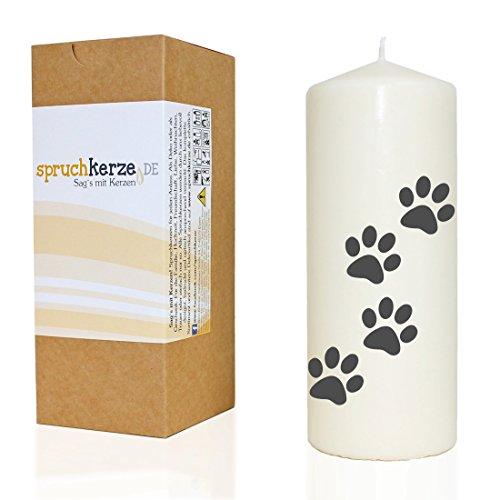 WB wohn trends Spruchkerze, 4 Tier-Pfoten/Hund Katze, grau, 20cm, 680g d7,5cm, Trauer-Kerze mit Spruch, Brenndauer ca 70 Std