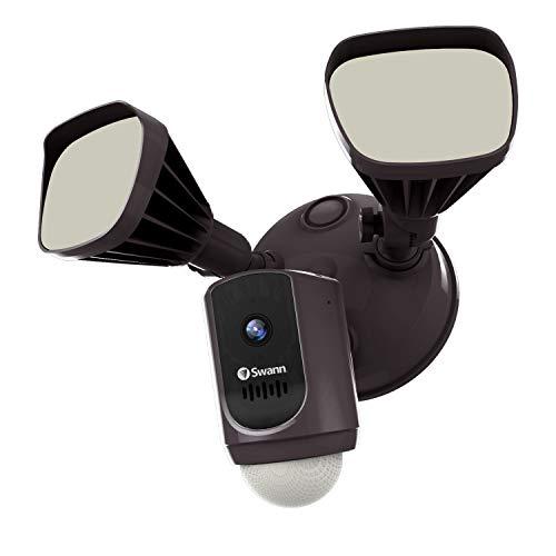 Swann Wi-Fi Floodlight Security Camera Dimmable Motion Lighting, True Detect Heat Sensing, 2-Way Talk, Siren, Color Night Vision, 1080p Camera, Bronze, SWIFI-FLOCAM2BR-US