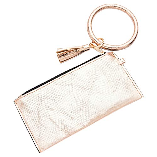 Santimon Schlüsselanhänger Geldbeutel Damen Tasche Schlüssel Armband Kunstleder Handtasche Geldbörse Kartenhalter mit Schlüsselring Armreif (Elfenbein-Weiß)
