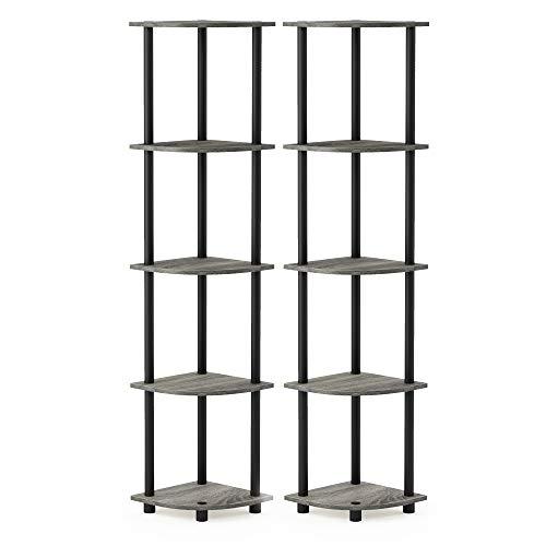 Furinno 5-stufiges Eckdisplay-Mehrzweckregal, holz, French Oak Grey/Black, 29.46 x 29.46 x 146.56 cm