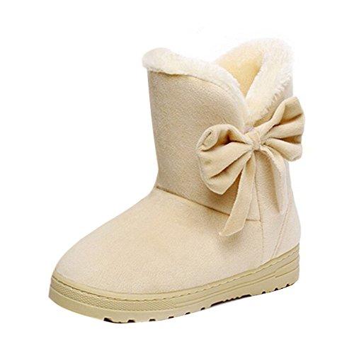Minetom Damen Schuhe Bow Tie Stiefeletten Winter Fur Boots Winterstiefel Warm Casual Flats Bequeme...