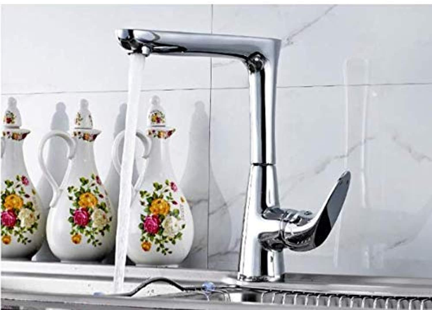 Oudan Brass Kitchen Faucet Chrome Finish redating 360 Degrees Hot and Cold Water Faucets Single Handle (color   -, Size   -)
