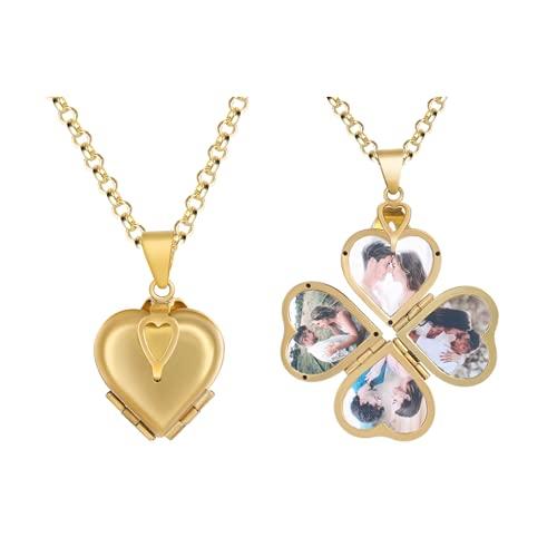 Foto Herz Medaillon Anhänger Halskette Personalisiert 4 Fotos Medaillon Kette für Eltern Foto Schmuck Souvenir Geschenk für Damen Herren