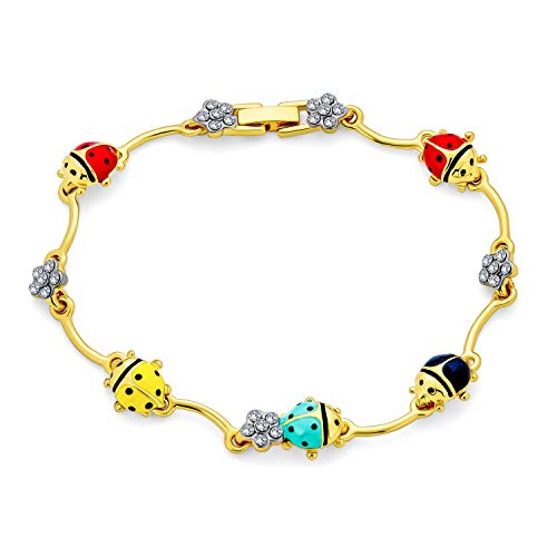 Bling Jewelry Colorful Good Luck Garden Lucky Ladybug Link Charm Bracelet for Women Crystal 14K Gold Plated Brass