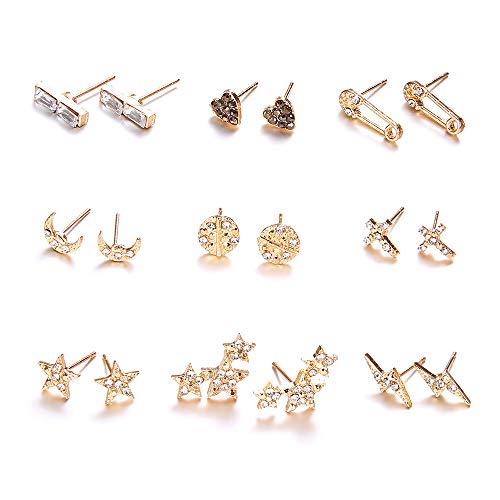 JSDDE Lot de 9 paires de boucles d'oreilles pour femme - Or - CZ - Boucles d'oreilles multi-styles, lune, étoile, croix, lobe - Bijou élégant pour femme