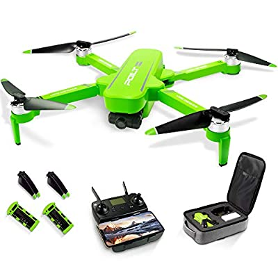 Foldable GPS Drone, 6K 5G WiFi Drone with HD Anti-Shake Camera for Adults, RC Quadcopter Gimbal with Brushless Motor, Follow-me, Waypoint, Human Tracking and Palm Control, 60Mins Flight