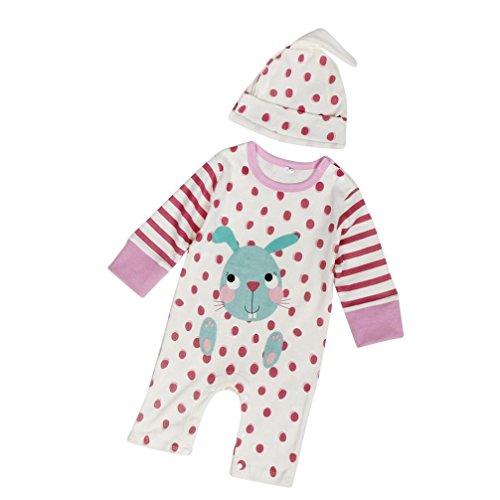kingko® Newborn Infant Bébés garçons filles Mignon Imprimer Romper Jumpsuit + Chapeau Tenues Vêtements (24M)