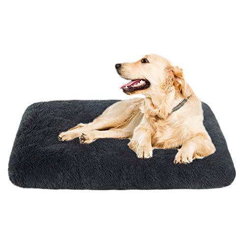 Xpnit Cama extra para perro, colchón grueso, cojín de felpa, para perro, tamaño grande, mediano y pequeño, lavable (L, gris oscuro)