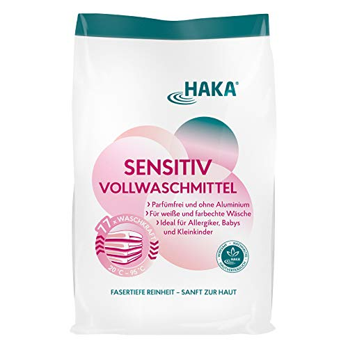 HAKA Vollwaschmittel Sensitiv I 3kg Waschpulver ohne Farbstoffe und Duftstoffe I Waschmittel für Allergiker I Ohne Parfum I 77 Waschladungen pro Beutel