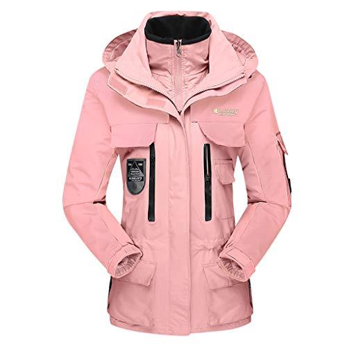 Zilosconcy Herren Damen Jacke wasserdichte Regenjacke Zweiteiliges Set Warme Ski-Jacken 3 in 1 Winterjacke Sports Jacke Warmer Winddichte Skijacke Freizeitjacke Paar tragen Große Größen Rosa3XL