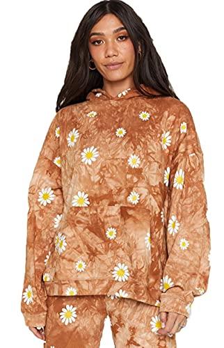 SLYZ Damas Europeas Y Americanas Primavera Suelta Suéter con Capucha Casual Blusa De Abrigo De Margarita con Teñido Anudado